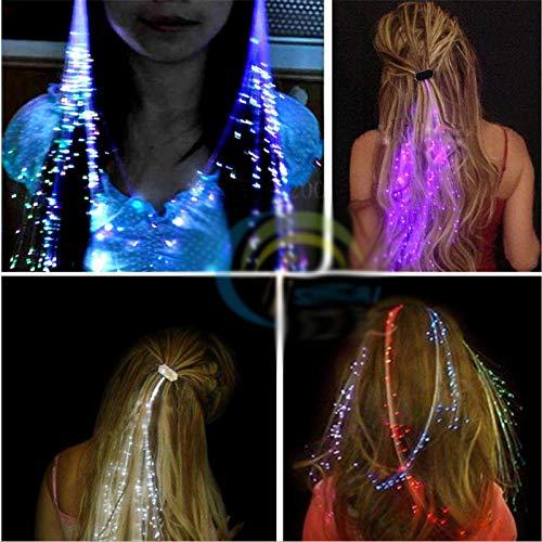 VIDOO Flash Haar Geflecht 40Cm Dekorative Valentines Geschenk Party Light-Up Optik Faser Verlängerung Haarspange-Weiß