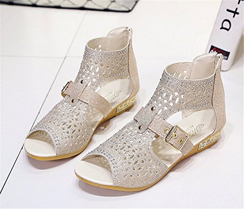 wealsex Sandales Compensé Spartiates Montante Bout Ouvert Strass Femmes or clair