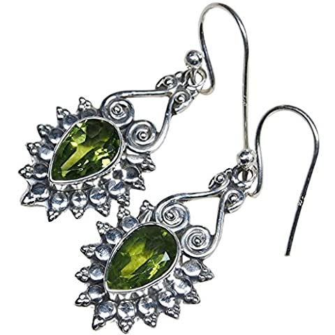 21 CT Crystal Peridot 925 Sterling Silver Natural Women's Dangle Earrings Cut Retro Pear Shape 1.4