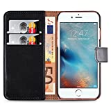 [ Cover iPhone 7 ] - Funda Retro Wallet Jammylizard De Piel Tipo Libro Para iPhone 7, NEGRO