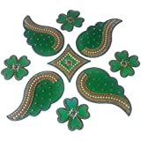 Anaya Industries Acrylic Floral Pearl Work Rangoli (36 Cm X 36 Cm X 1 Cm, Green)