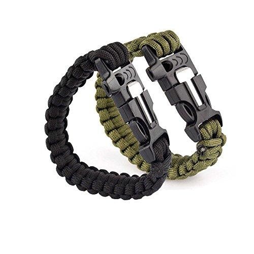 76 Bracelet de Survie-Paracorde-Sifflet Boucle-d/'Urgence Flint Allume-Corde Kit