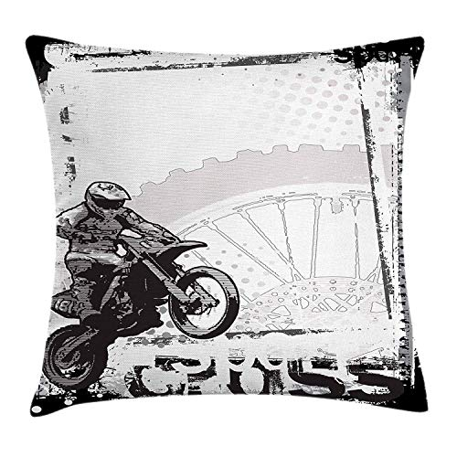 ZTLKFL Motorcycle Throw Pillow Cushion Cover, Motocross Racer Image Grungy Background Poster Style Monochromic Artwork Print, Decorative Square Accent Pillow Case, 18 X 18 Inches, Black White - Black Racer Zip