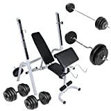 Weight Bench Set with Weight Rack (Barbell + 2 Dumbbells + SZ Curl Bar) Fitness Gym Workout
