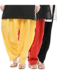 Crafts 100% Pure Solid Cotton Semi Patiala Salwar Bottoms Indoor Outdoor For Women's & Girls( Color Yellow / Red...