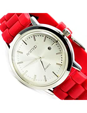 Slim Unisex Armbanduhr Datumsanzeige Rot Silber Edel, Elegant Silikonband AL 577
