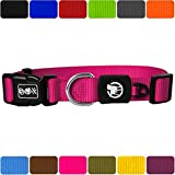 DDOXX Hundehalsband Nylon | für große & Kleine Hunde | Katzenhalsband | Halsband | Halsbänder | Hundehalsbänder | Hund Katze Katzen Welpe Welpen | klein breit Leuchtend bunt | Pink, XL