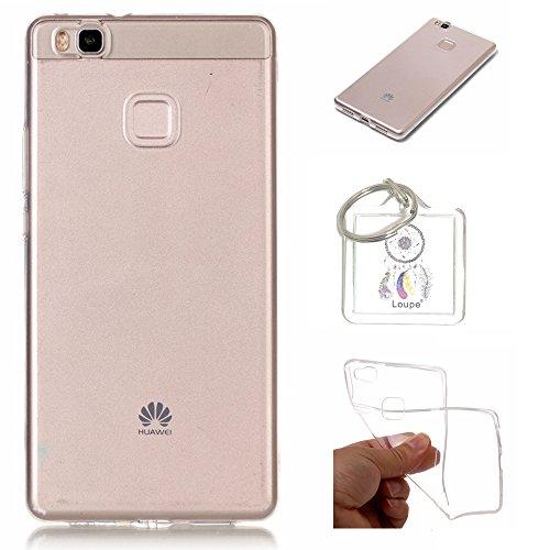 Preisvergleich Produktbild Hülle Huawei P9 Lite Hülle Soft Flex Transparent Silikon TPU Handyhülle Schutzhülle für Huawei P9 Lite Case Cover - Crystal Clear + Schlüsselanhänger (P) (1)