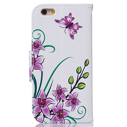 iPhone 6S Plus Hülle,iPhone 6 Plus Hülle,iPhone 6 Plus/6S Plus Ledertasche Brieftasche im BookStyle,SainCat PU Leder Wallet Case Folio Schutzhülle Gemalt Muster [Schwarz,Blume] Hülle Bumper Handytasch Pink Butterfly