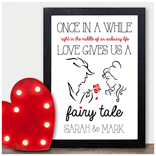 PERSONALISED Valentines Day Gifts Beauty and the Beast Fairytale for Him Her - PERSONALISED ANY NAMES for Anniversary, Birthday - Black or White Framed A5, A4, A3 Prints or 18mm Wooden Blocks