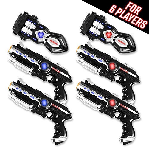Power Tag Kid's and Adult's Infrared Laser Gun and Glove Set, 6 Player Pack with 4 Guns and 2 Battle Blasters -1mW