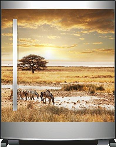Wallario Kühlschrank-Aufkleber / Geschirrspüler-Aufkleber, selbstklebende Folie für Küchenschränke - 60 x 60 cm, Motiv: Safari in Afrika eine Herde Zebras am Wasser