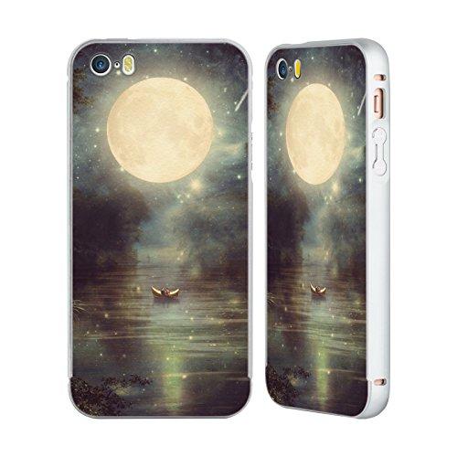 Ufficiale Paula Belle Flores Una Notte A Parigi Luna Argento Cover Contorno con Bumper in Alluminio per Apple iPhone 5 / 5s / SE Romanticismo Sul Lago