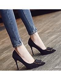 Xue Qiqi Escarpins Astuce cuir peint des fentes permettant de les chaussures de talon haut Chaussures de mariage rouge élégant avec fine bouche peu profonde chaussures femme simple,37, Beige