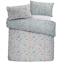 Bettwaren, -wäsche & Matratzen Bettwäschegarnituren Blume Blumen Gras Pink Grau Baumwollgemisch Super King Bettbezug