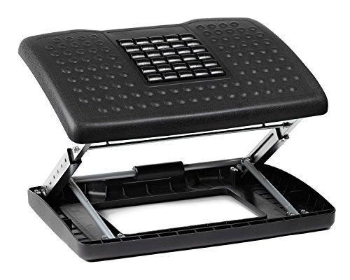 Halter F6068 - Reposapiés de altura ajustable con rodillos para masaje de pies, color negro