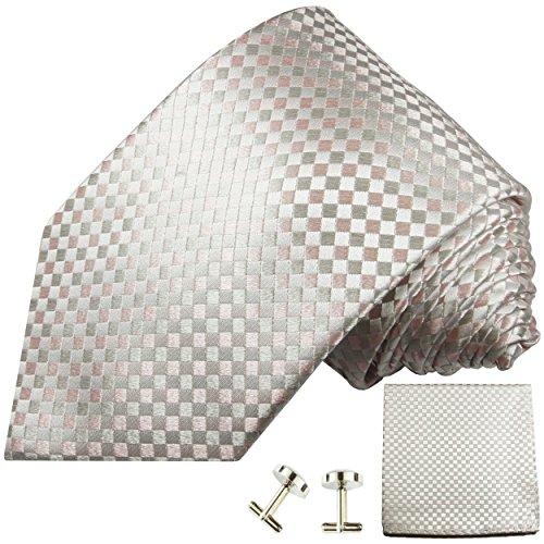 Cravate à carreaux rose d'argent ensemble de cravate 3 Pièces ( 100% Soie Cravate + Mouchoir + Boutons de manchette )
