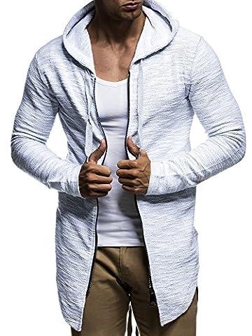 LEIF NELSON Herren oversize Sweatjacke mit Kapuze Jacke Hoodie Hoody LN6301; Größe XL, Grau