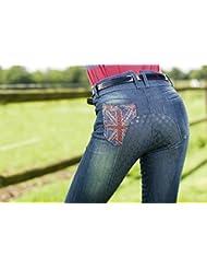 HKM PRO TEAM Equitación–Denim International de silicona Completo ribete, color  - jeansblau, tamaño 15 años (164 cm)