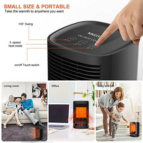 51pW05sqDNL. SS500  - KKCITE Portable Electric Ceramic Space Heaters, 2 in1 2SPersonal Heater Fan with Auto Oscillating Hot & Cool Mode, Tip-Over & Over-Heat Protection 950W with Worldwide Adapters