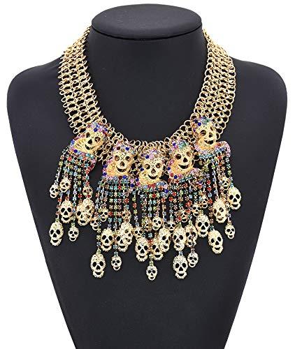 alskette Lady Girls Halloween Totenkopf Quaste Choker Bib Statement Halskette österreichischen Kristall Damenschmuck (Farbe : Gold) ()