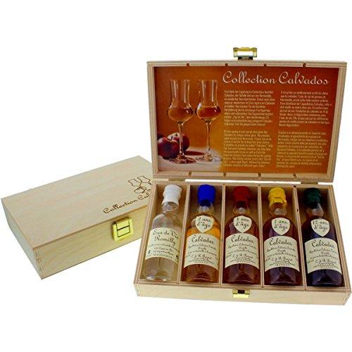 Calvados Collection - 5 rustikale Apfelbrand-Miniaturen in schöner Holzkiste als Weihnachtsgeschenk