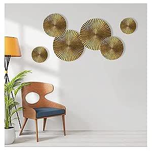 Craftter Metal Figures Themed Wall Art Sunburst Handmade Antique and Contemporary Sculpture and Hanging Decor (Golden) -6 Pieces
