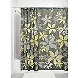 iDesign Tessa Duschvorhang | Designer Duschvorhang mit stabiler Aufhängung | zeitlos schöner Badewannenvorhang 183,0 cm x 183,0 cm mit Blumen | Polyester grau/gelb