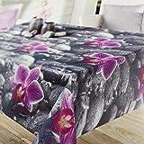 Kamaca - Tovaglia per esterni, lavabile, resistente alle intemperie, asciugamani, Flower, 130 cm x 160 cm