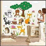 910 - Stickers Muraux Animaux de la Forêt pour Enfants - Décoration pour Chambre d'Enfant, multicolore, 150cm / 42cm...