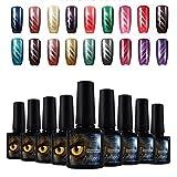 Joligel Elegir 10 Colores Esmaltes Gel 10ML Semipermanentes Magnéticos de Uñas Manicura UV LED Efecto Ojo de Gato Reconstrucción de Uñas Nail Art Set