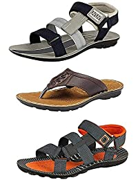 8679103b1d2cdb RIFOF Men's Multicolor 3 Combo Pack of Synthetic Leather 2 Floaters Sandals  & One Slippers