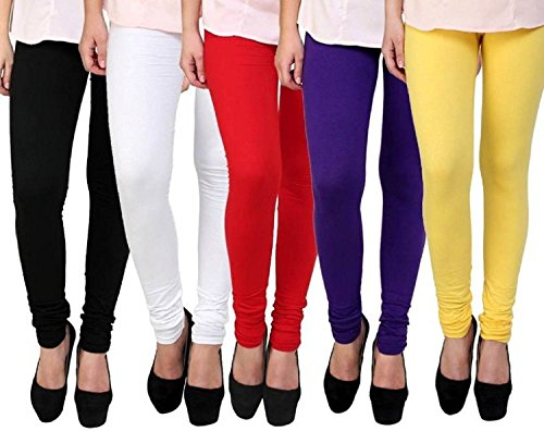 Rudraksha Cotton Lycra Leggings for Woman (Pack of 5)