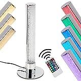 LED Tischlampe Flaut, dimmbare Tischleuchte aus Metall in Chrom, 5 Watt, 400 Lumen, Lichtfarbe 3000 Kelvin (warmweiß),gemütliche Nachttischlampe mit RGB Farbwechsler und Fernbedienung
