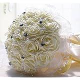 "WTB Handmade Wedding Flowers Bouquet artificiale di lusso (7"" Avorio)"