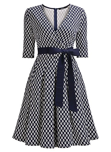 50er Jahre Retro Kleid Rockabilly V-Ausschnitt Cocktailkleid Partykleid Navy Blau - 4