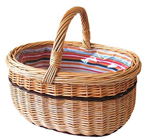Einkaufskorb oval, hellbraun/mehrfarbig, T 37cm x B 27cm x H 21cm