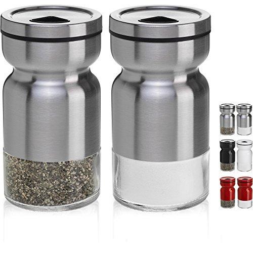 chefvantage Salz- und Pfefferstreuer-Set mit verstellbarem POUR Löcher, glas, edelstahl - Anchor Hocking Shaker