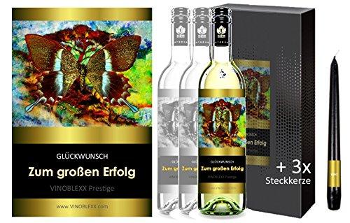 ZUM GROSSEN ERFOLG. 3er Geschenkset KLASSIK Weisswein. Ein Geschenk mit Stil & Prestige in Golddruck das jeden begeistert. Hochwertiger Qualitätswein. Verschiedene Etiketten-Designs, aktuell: Schmetterling