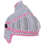 EJY Neuheit römischen Ritter Helm Caps Handgemachte Knit warme Winter-Maske Mützen Kid Partei-Schablone Mützen (große für Papa, Hellgrau)