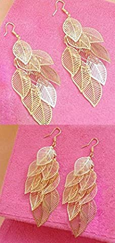 CALISTOUK 1 Pair 3D Long Leaves Earring Charming Sweet Pretty Gold Gold