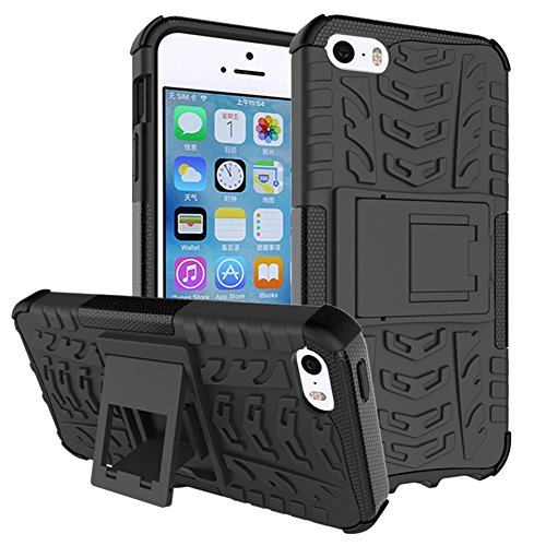 iphone SE Custodia, GIM Nero Hybride Soft Cover Case in Silicone TPU Posteriore mit Duro PC Shock-Absorption Custodia Protettiva per Apple iphone 5 5S SE Smartphone con Supporto