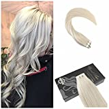 Ugeat Leichteste Blondine 60# Tape in Echthaar Tressen Extensions Brasilianich Remy Glatt Haarverlangerung 50g/20pcs 24
