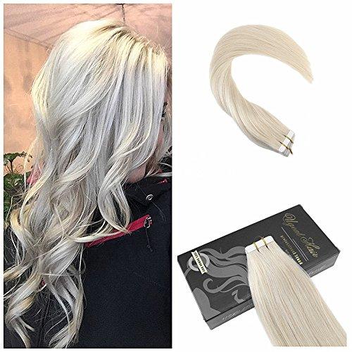 "Ugeat Leichteste Blondine 60# Tape in Echthaar Tressen Extensions Brasilianich Remy Glatt Haarverlangerung 50g/20pcs 24""/60cm"