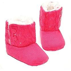 Tefamore Zapatos de niño Prewalker Invierno Soft Sole Crib Botones de botón caliente Boots de algodón para bebés (Tamaño: 11cm, 3-6 meses, Rosa caliente)