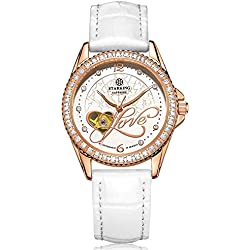 STARKING Women's AL0223RL11 Love Heart Rose-Gold Case Skeleton Automatic Watch with White Leather Strap