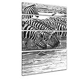 """Bilderdepot24 Immagine su telaio a cunei """"Zebre presso una sorgente d'acqua"""" 120x180 cm 4tlg - Già montato sul telaio, stampa su tela di cotone 100%, Stampa artistica intelaiata e pronta da appendere"""