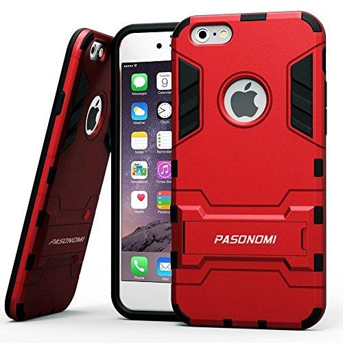 iPhone 6 Hybrid Case - Pasonomi® [2in1 Set] Rugged TPU+PC Hartschale Tasche Weich Silikon Dual Layer Kickstand Schutzhülle für iPhone 6 (4.7 inch) Schwarz Gel Bumper Grau Hart Hülle Armor Case mit Stä Rot
