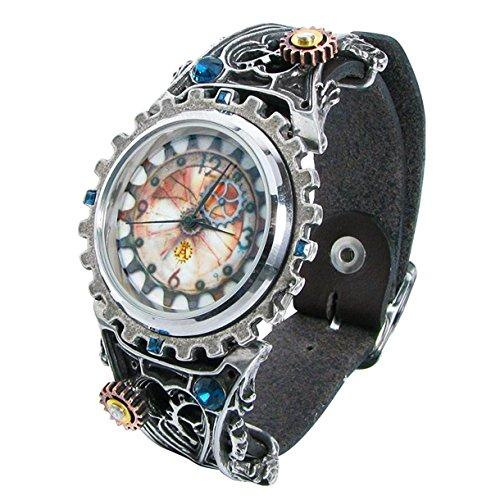(Alchemy Empire: Steampunk AW23–Armbanduhr, Armband aus Edelstahl Farbe Silber)