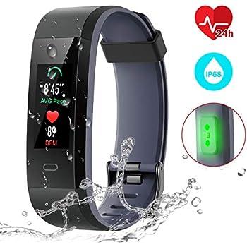 CHEREEKI Pulsera Actividad, Fitness Tracker IP68 Impermeable Monitor de Frecuencia Cardiaca 14 Modos de Ejercicio/Seguimiento del Sueño/Recordatorio ...
